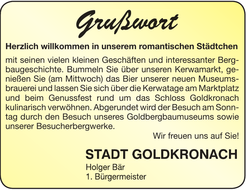 Holger Bär - 1. Bürgermeister Stadt Goldkronach