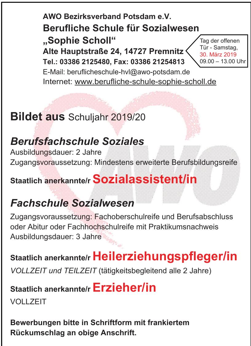 """AWO Bezirksverband Potsdam e.V. Berufliche Schule für Sozialwesen """"Sophie Scholl"""""""