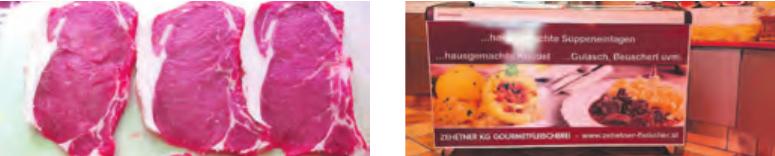 Berühmte Rib-Eye-Steaks und die Knödelvitrine Fotos: Zehetner