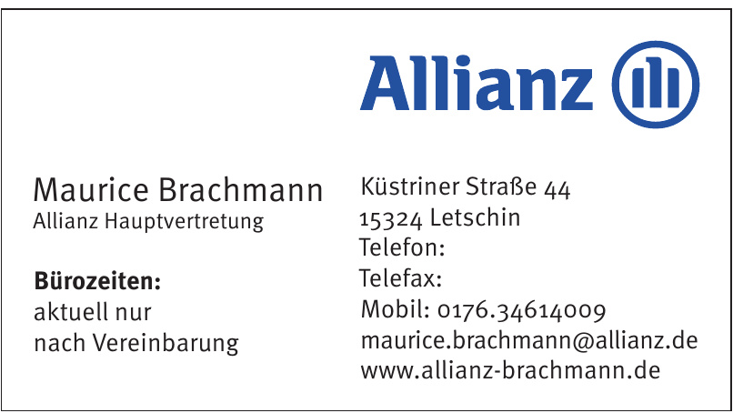 Maurice Brachmann Allianz Hauptvertretung