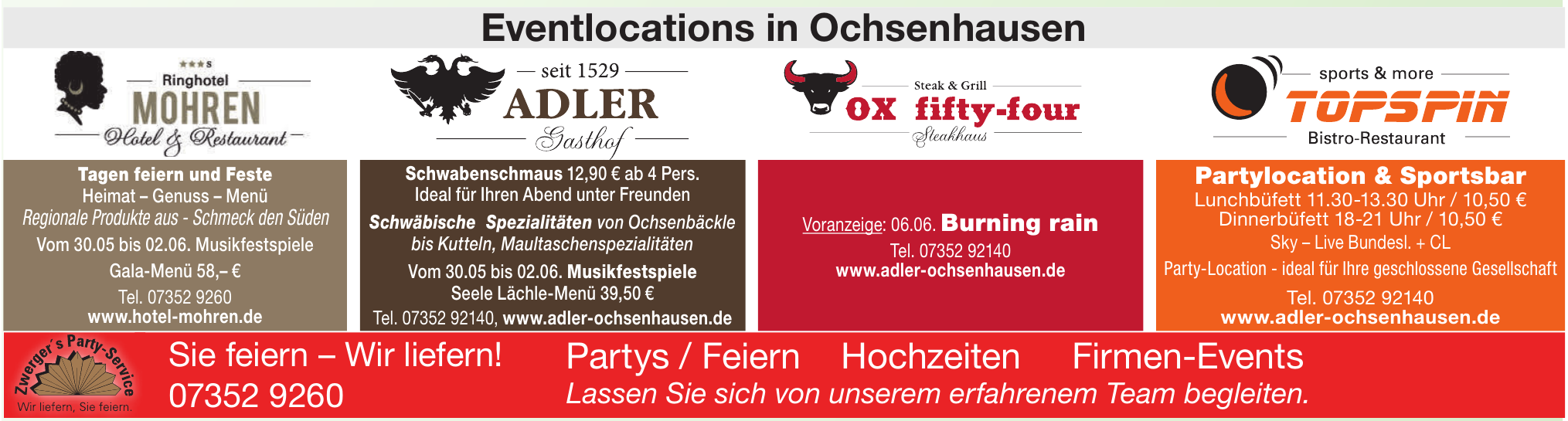 Eventlocations in Ochsenhausen