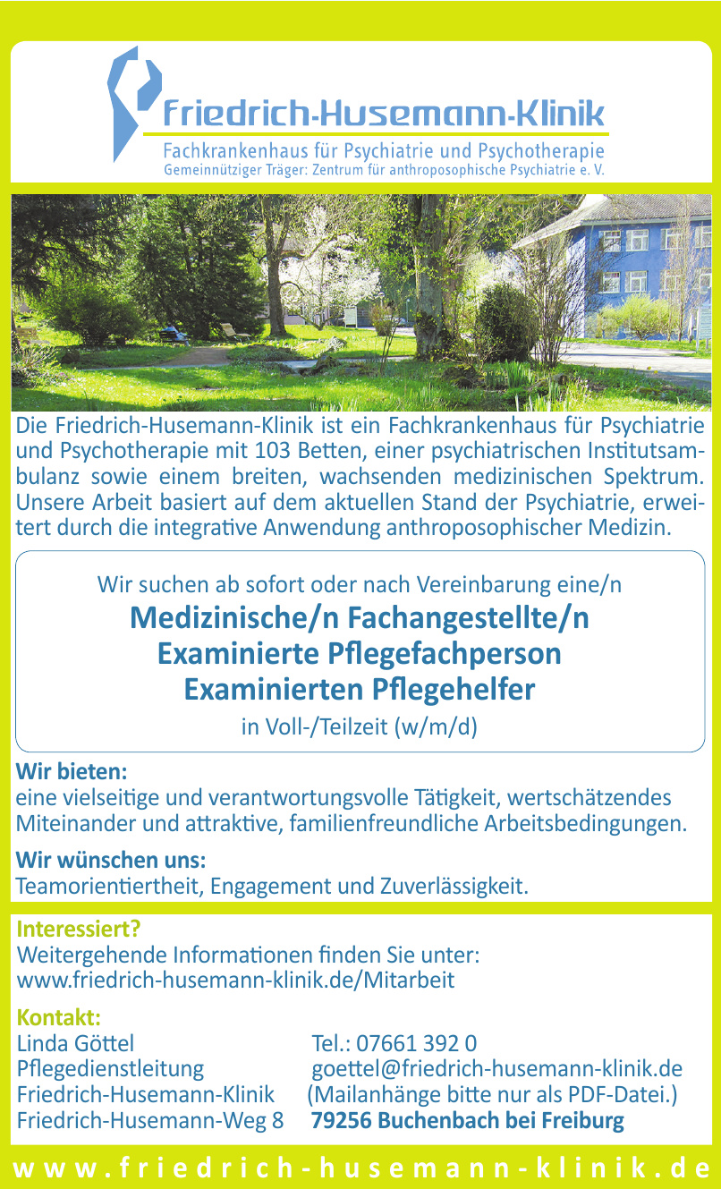 Pflegedienstleitung Friedrich-Husemann-Klinik