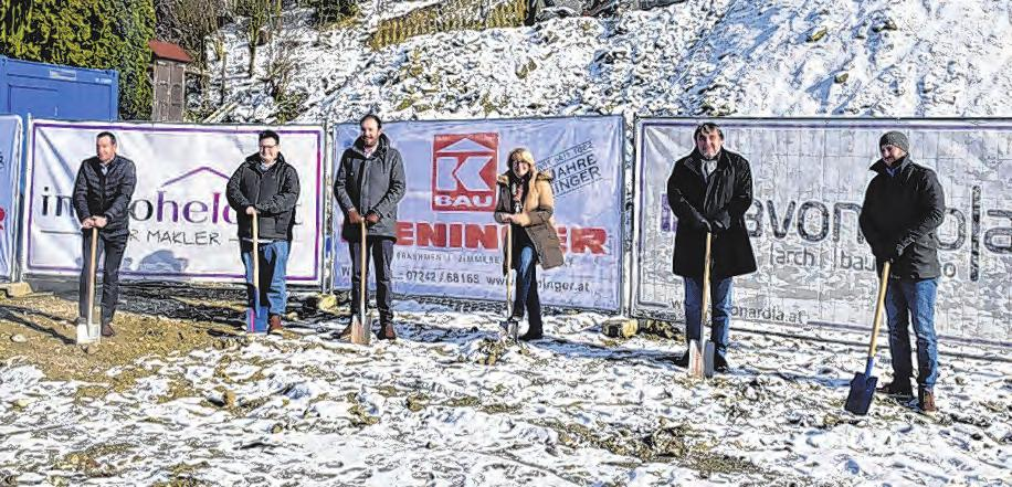 Spatenstich Wohnprojekt Savonarola (v. l.): Tim Stückemann, Otto Obernberger, Michael Ludwig, Bgm. Maria Pachner, Erich Ludwig, Manuel Miglbauer Foto: Stadtgemeinde
