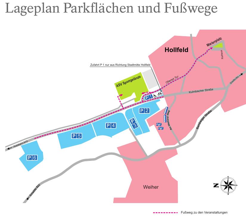 Lageplan Parkflächen und Fußwege