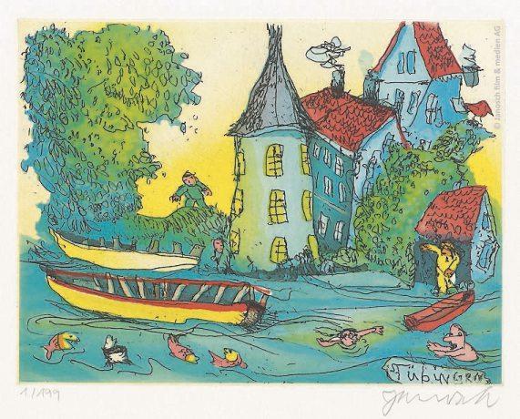 """""""Oh wie schön ist es in Tübingen""""– so der Name der hübschen Radierung von Janosch, der auch einer der Künstler bei Art 28 ist."""
