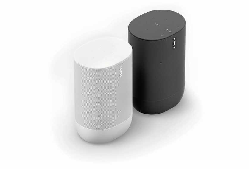 Die tragbaren Sonos Move (in Lunar White und Shadow Black) sind mit WLAN ausgestattet. FOTO: Sonos