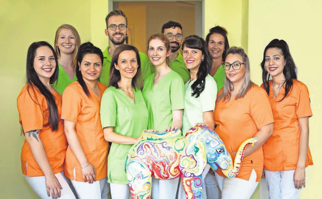 Standortleiterin Dr. Kathrin Mehlhase (vorne, 3. v. l.) und ihr Team der Kinderzahnarztpraxis kids & teens. Foto: Zahnärzte im Roßbachpalais