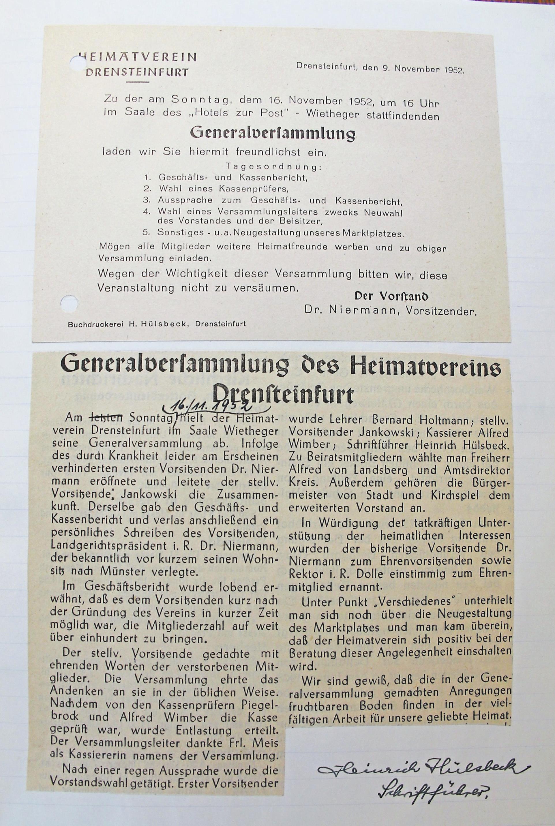 Das älteste vorhandene Dokument ist übrigens die Einladung zur Generalversammlung vom November 1952. Fotos: Nicole Evering