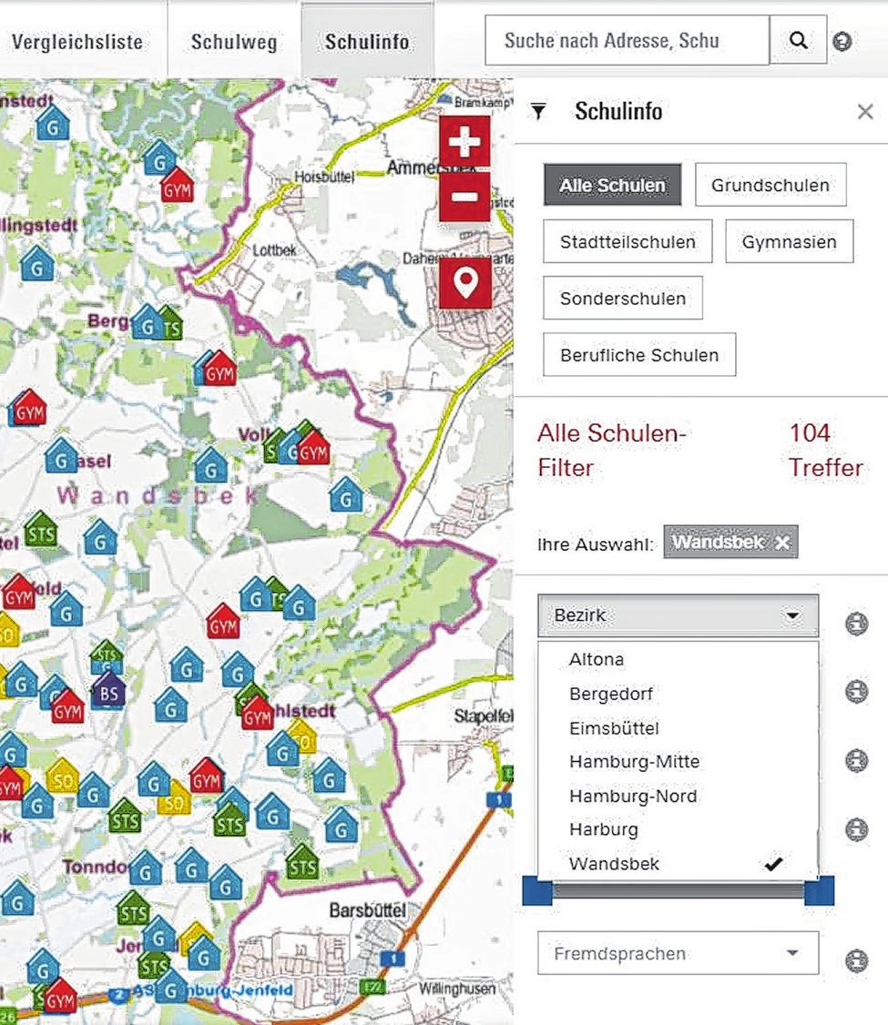 """Auf der Internetseite des """"Schulinfosystems"""" kann man sich einen ersten Überblick über die verschiedenen Schulen in Hamburg verschaffenFoto: Screenshot Hamburg.de"""