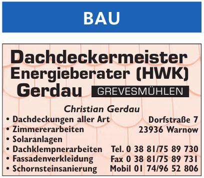Dachdeckermeister Energieberater (HWK) Gerdau
