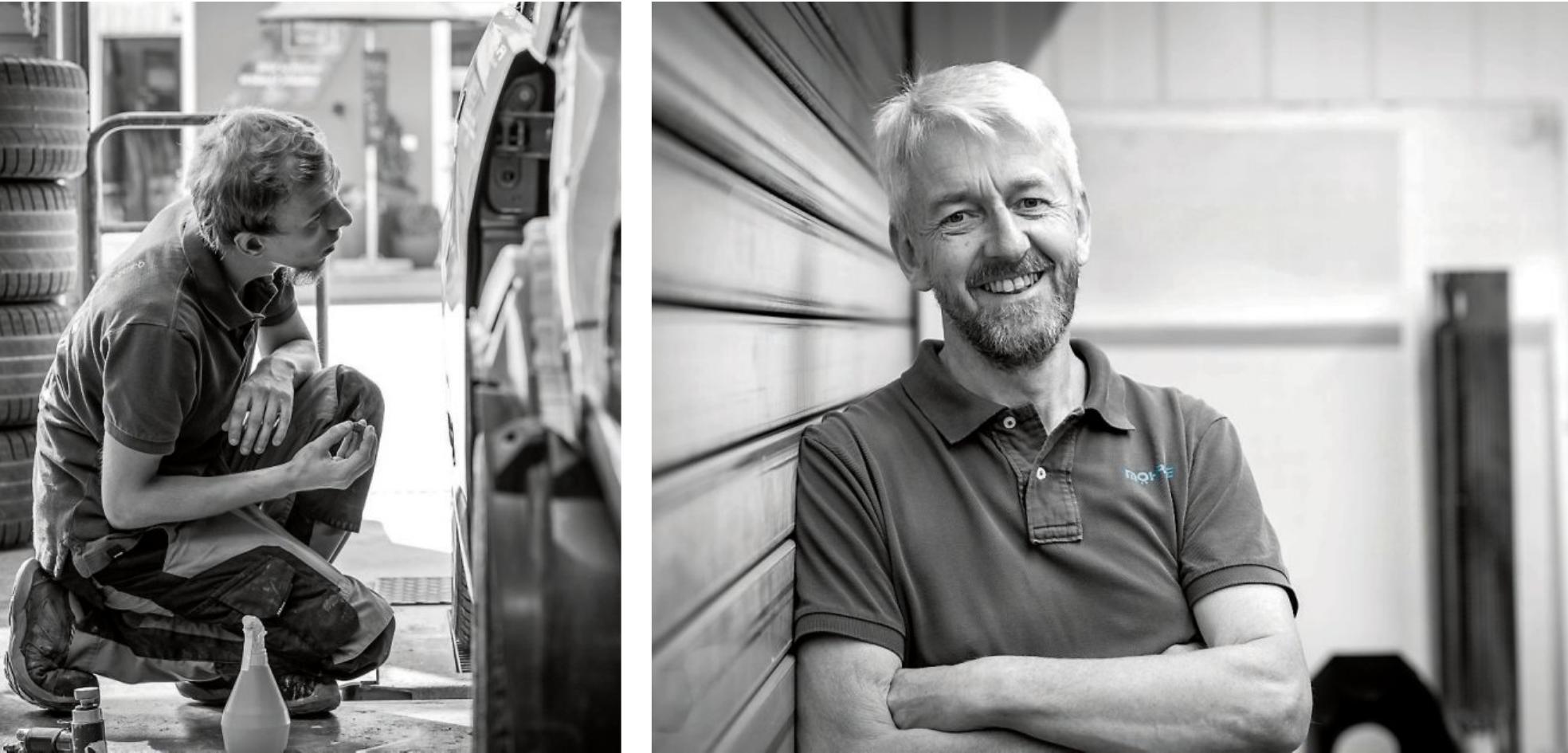 Jörg Möhrle (Bild re.) freut sich über seine Jubiläumsfeier im 26. Jahr. Der Betrieb ist spezialisiert auf Karosserie- und Lackierfacharbeiten und präsentiert sich unter www.traumlackierung.de Bilder: Möhrle
