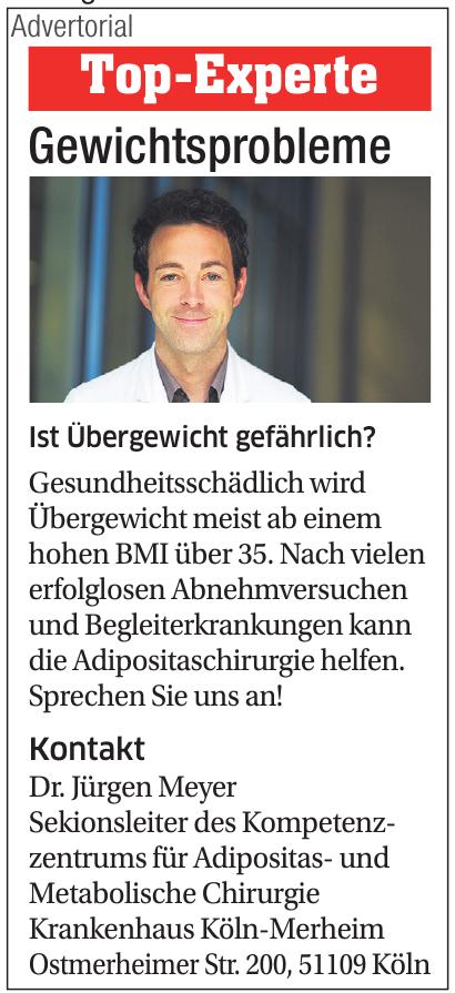Dr. Jürgen Meyer - Sekionsleiter des Kompetenzzentrums für Adipositas- und Metabolische Chirurgie Krankenhaus Köln-Merheim