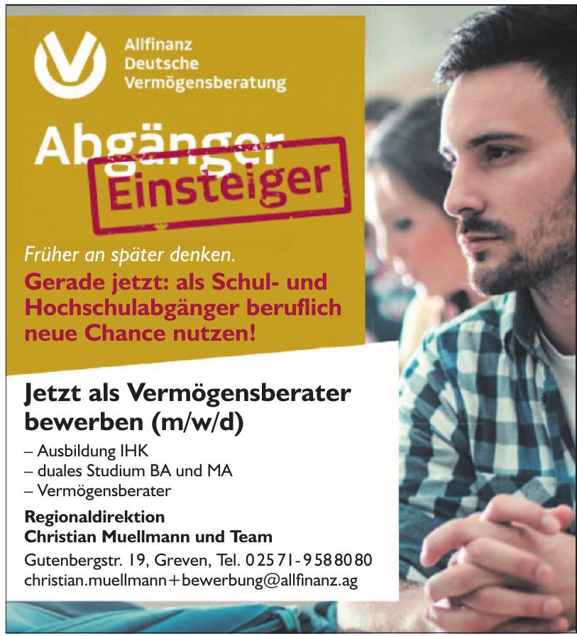 Allfinanz Deutsche Vermögensberatung Regionaldirektion Christian Muellmann und Team
