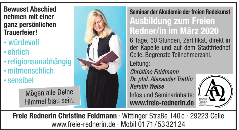 Freie Rednerin Christie Feldmann