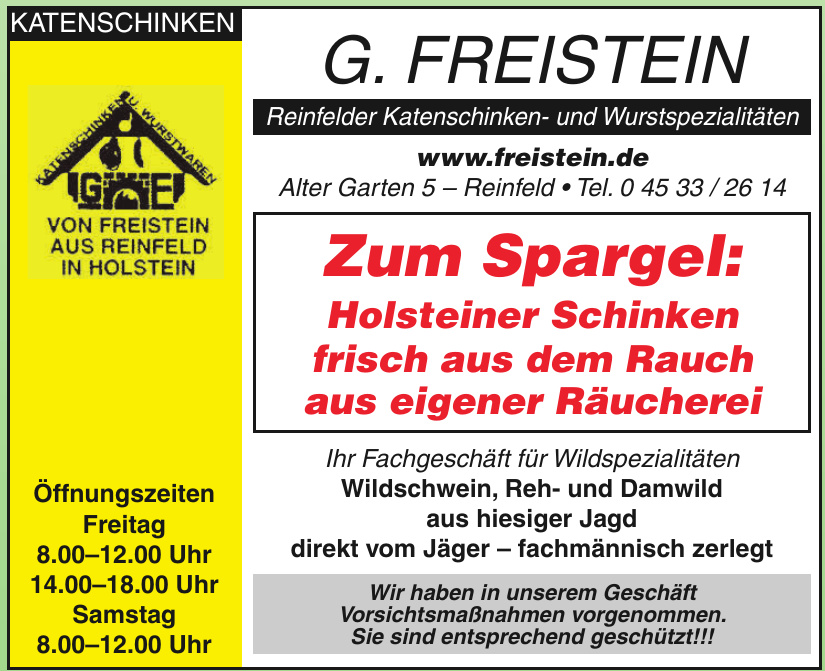 G. Freistein Reinfelder Katenschinken- und Wurstspezialitäten