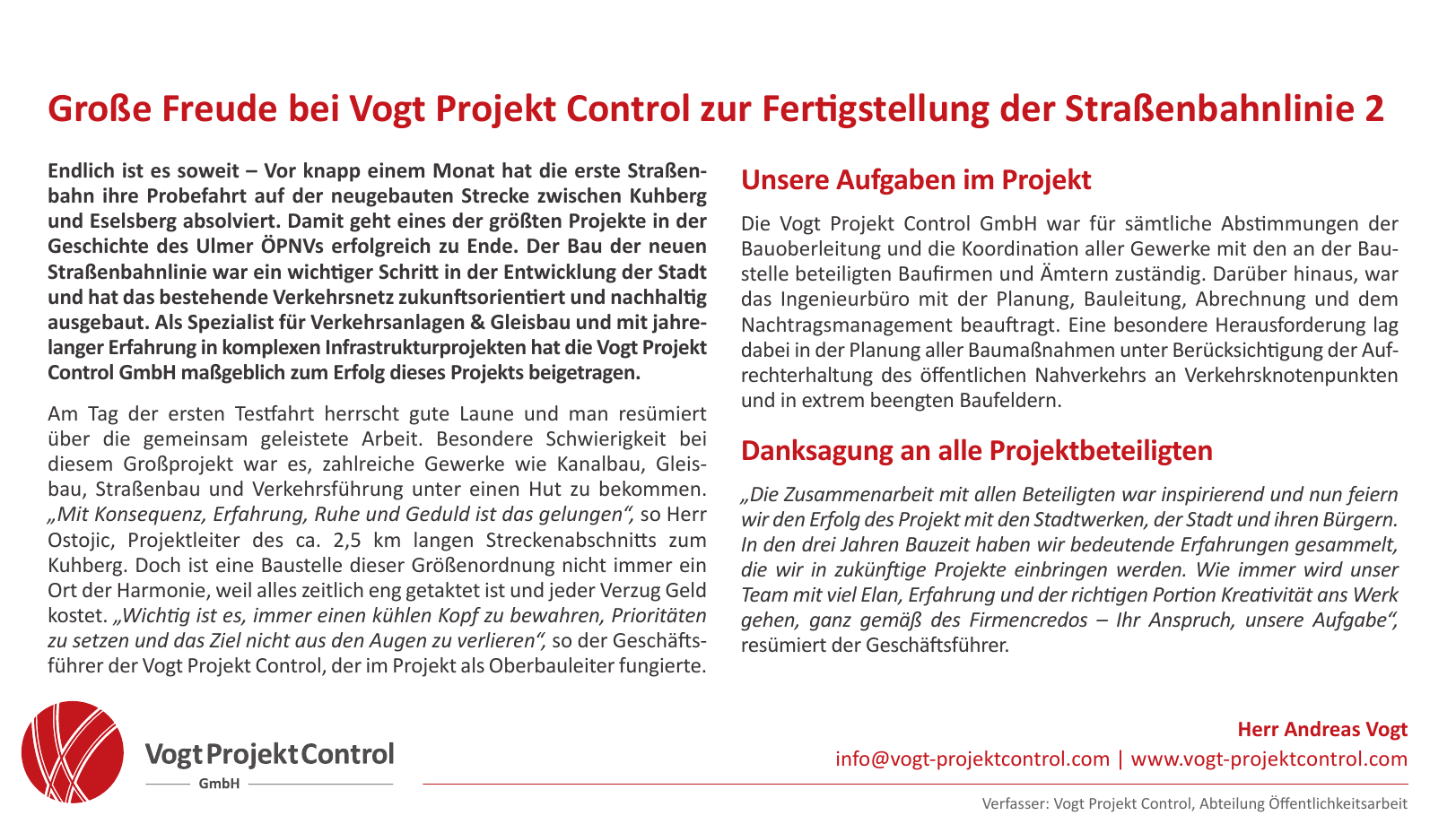Vogt Projekt Control