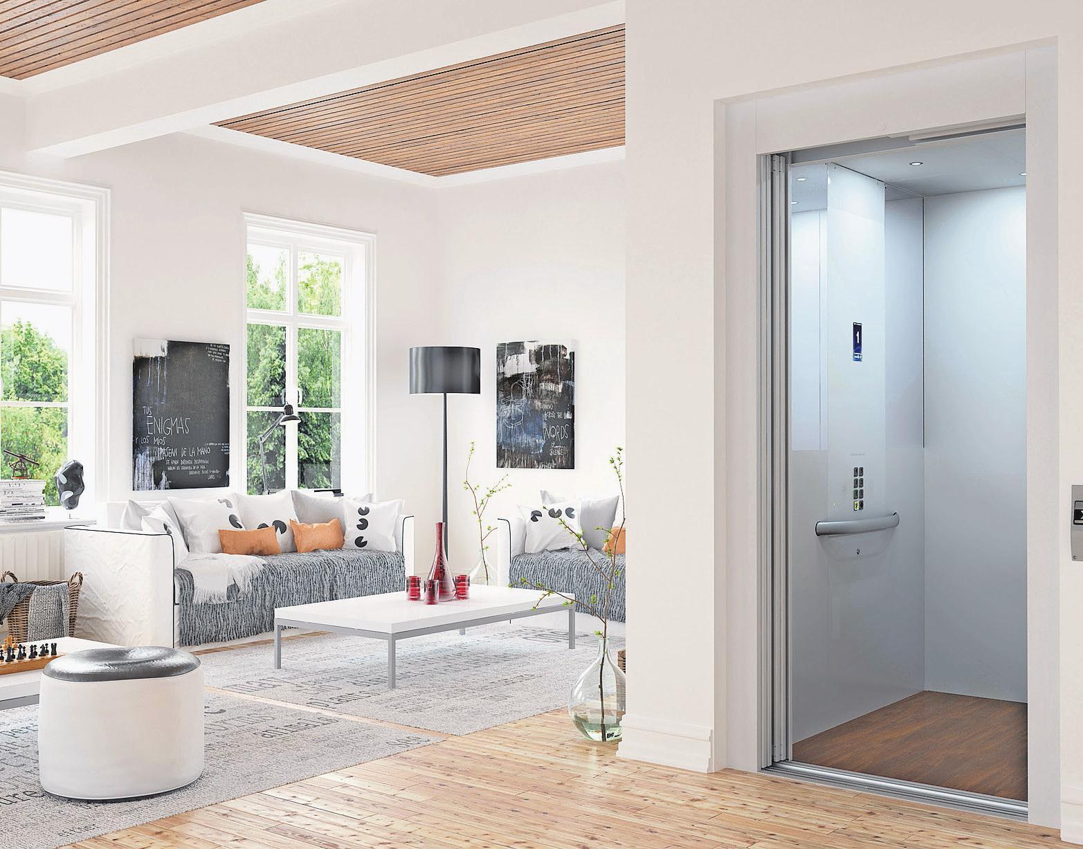 Erster Halt: Wohnzimmer. Kleine Aufzüge lassen sich in eigentlich fast allen Wohngebäuden einbauen. Foto: Cibes Lift AB/DVTP/dpa-mag