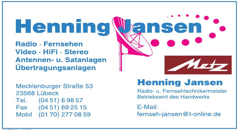 Henning Jansen Radio- u. Fernsehtechnikermeister