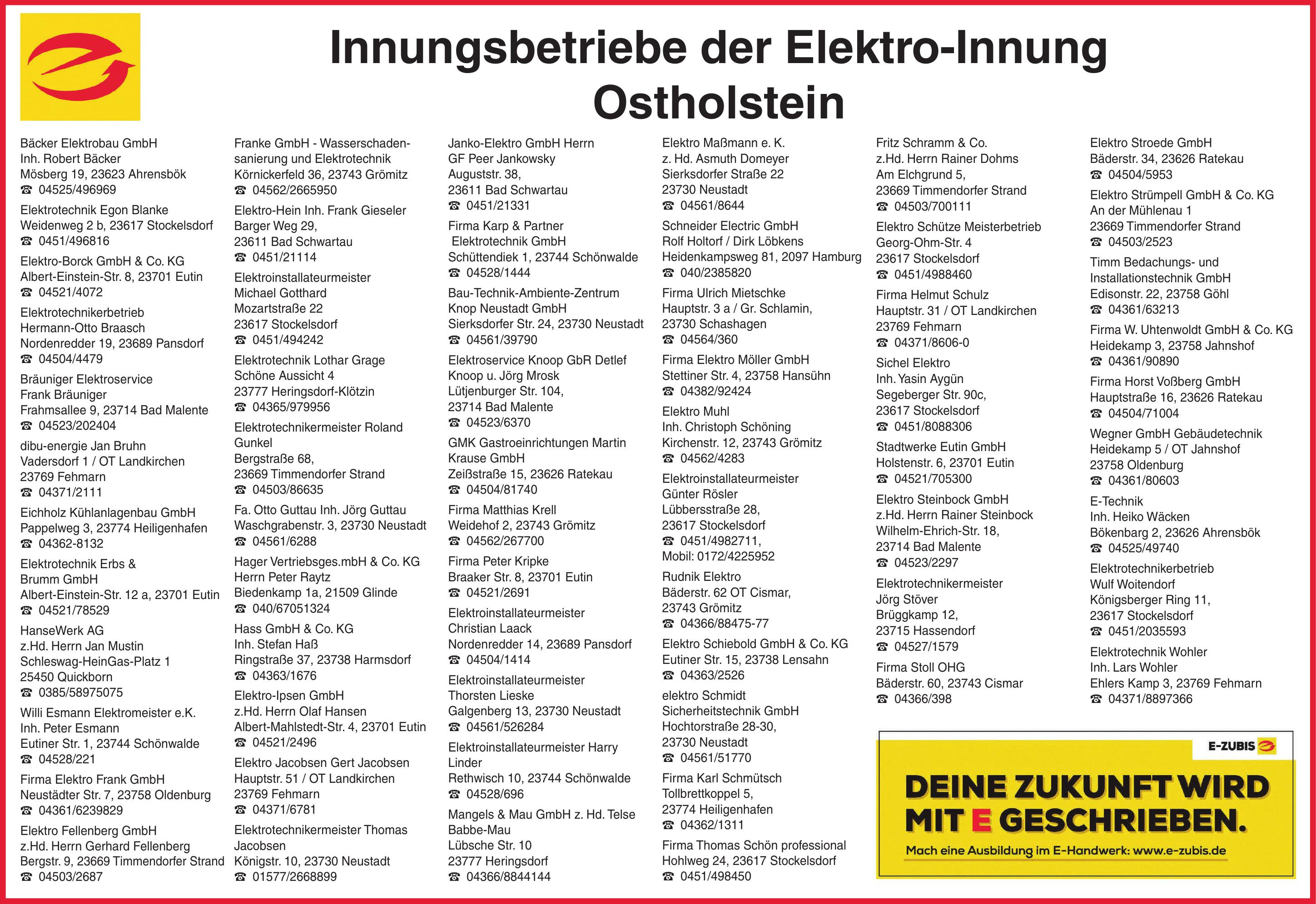 Innungsbetriebe der Elektro-Innung Ostholstein