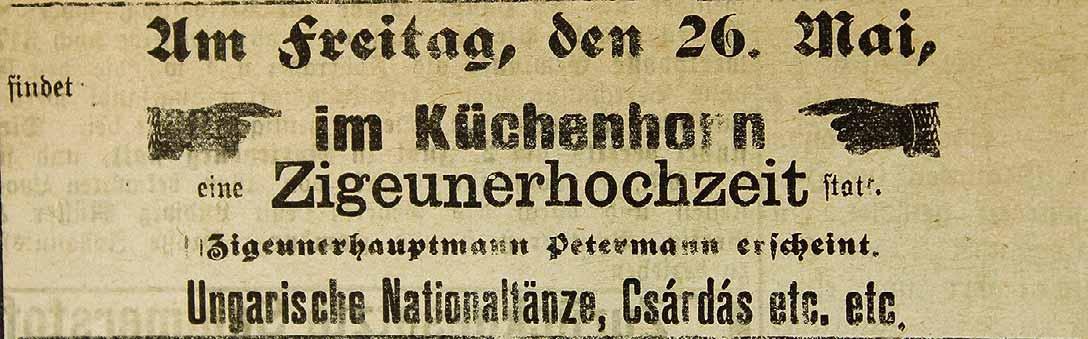 """Ein Zeitungsartikel aus dem Jahr 1899 berichtet von einer """"Zigeunerhochzeit"""", die bei Wolmirstedt gefeiert wurde."""