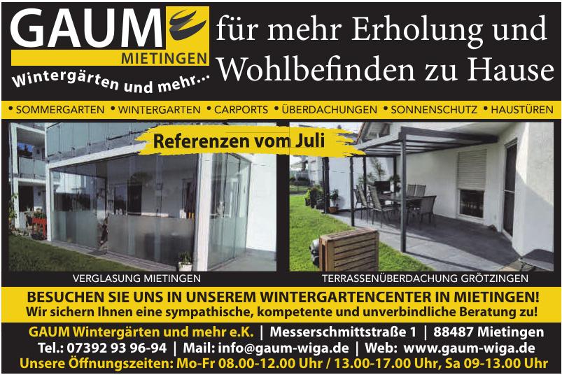 GAUM Wintergärten und mehr e.K.