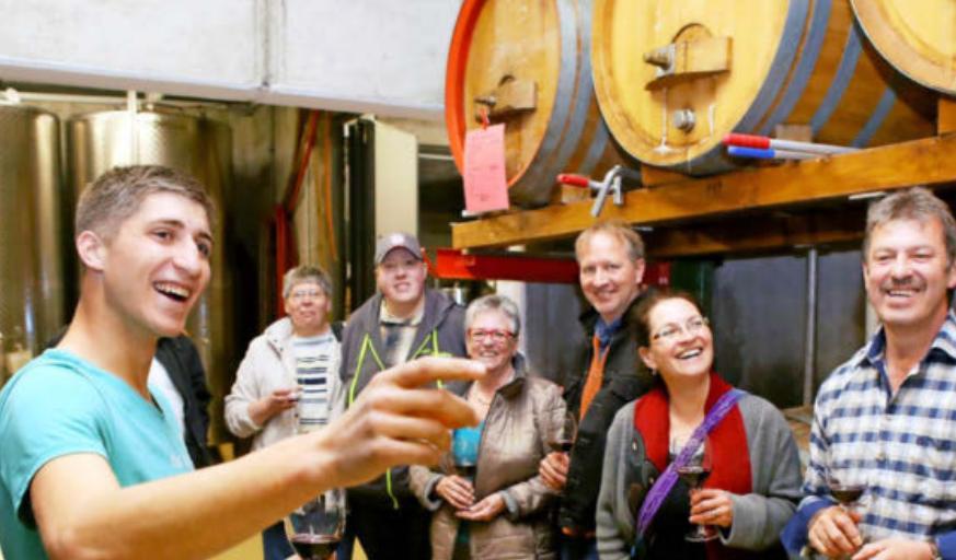 Juniorchef Ludwig Berthold führt Ende April beim Aktionstag durchs Weingut seiner Familie am Neckarsulmer Scheuerberg. Foto: Seidel