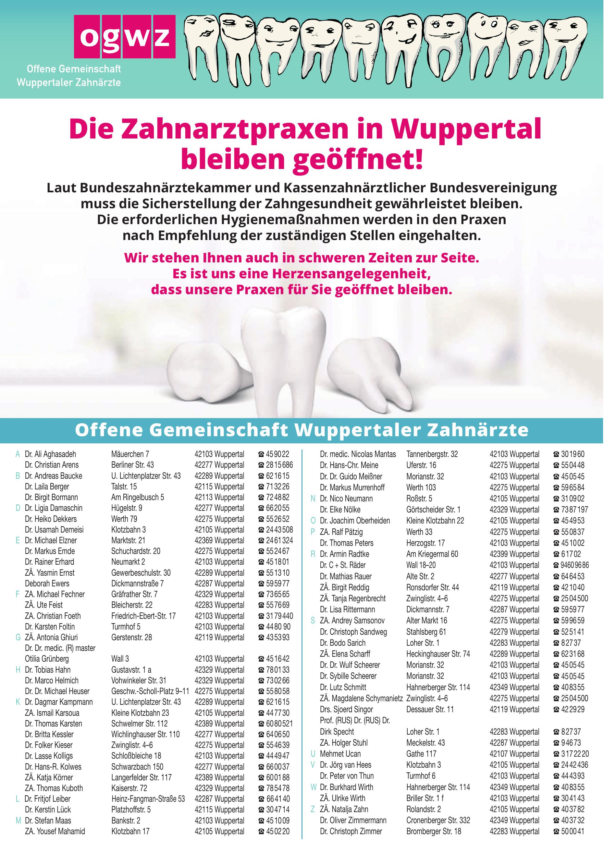 OQWZ Offene Gemeinschaft Wuppertaler Zahnärtze
