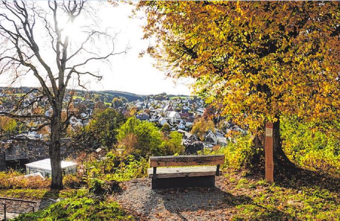 Ein Bänkchen mit atemberaubender Aussicht. Denken, Danken, Dankbarkeit . Foto: Bärbl Kugelmann