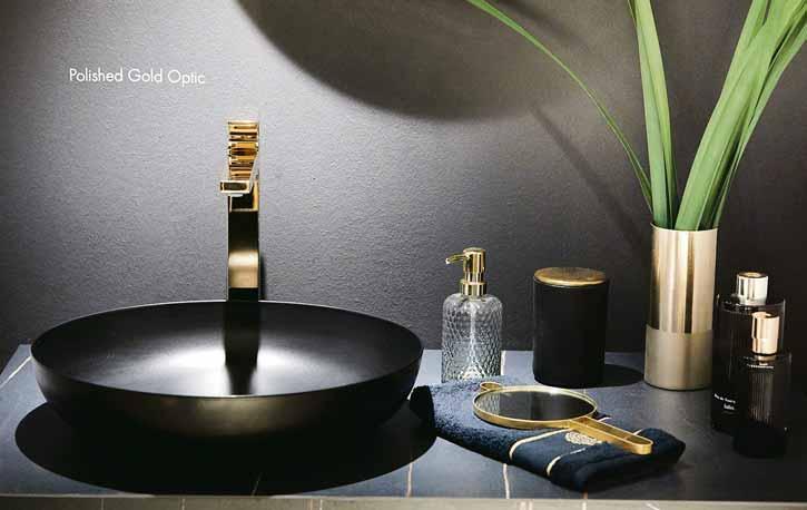 Highlight: Gold bringt Luxus ins Bad und mit Schwarz bestens zur Geltung. Fotos (2): Vereinigung Deutsche Sanitärwirtschaft (VDS)