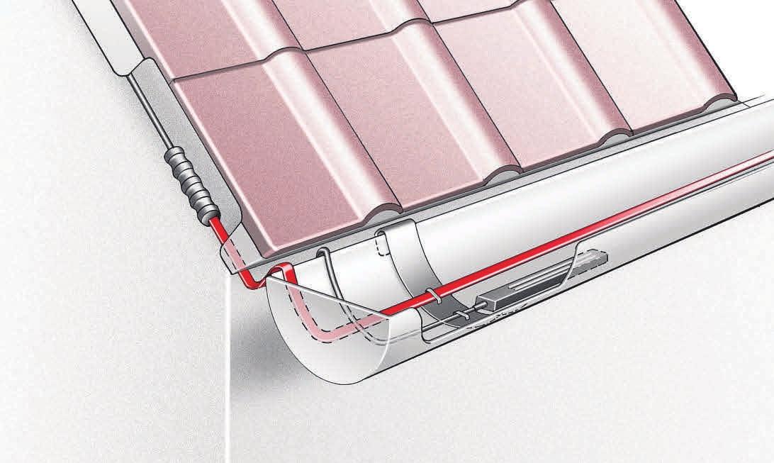 Spezielle Begleitheizbänder für Dachrinnen von Danfoss verhindern FOTOS: DANFOSS,