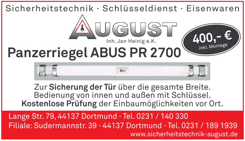 August Sicherheitstechnik, Schlüsseldienst, Eisenwaren - Inh. Jan Heinig e.K.