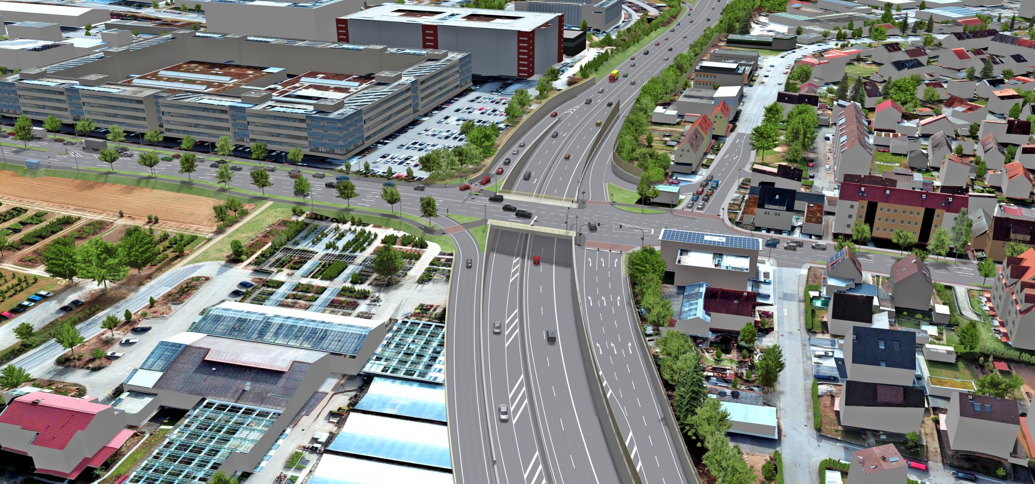 So könnte der geplante Anschluss von der Binswanger Straße an die B27 aussehen. Foto: Stadt Neckarsulm