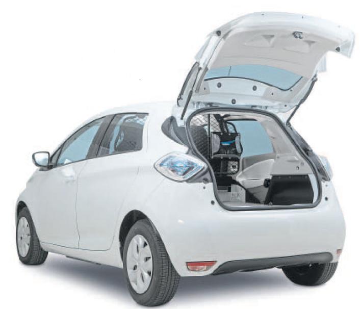 Rückbank raus, Ladeboden und Trennwand rein – so wird der Zoe zu einem echten Nutzfahrzeug. Foto: © Renault
