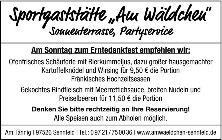 """Sportgaststätte """"Am Wäldchen"""""""