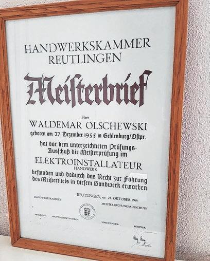 Der Meisterbrief des Firmengründers.