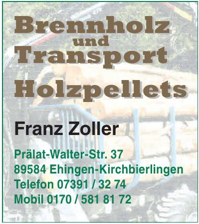 Brennholz und Transport Holzpellets - Franz Zoller