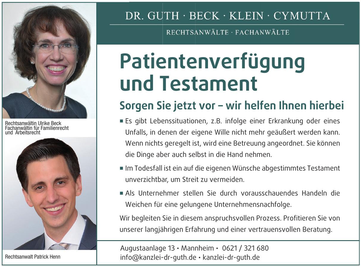 Dr. Guth · Beck · Klein · Cymutta