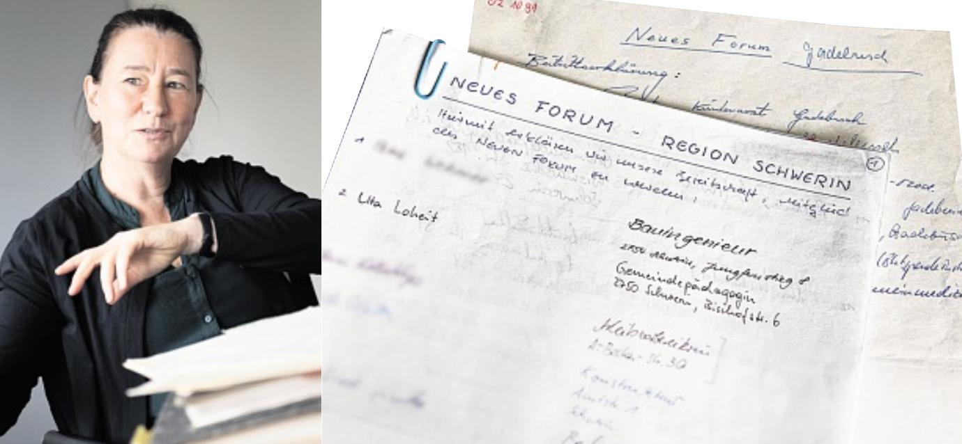 Heute liegt die Liste des Neuen Forums in Schwerin bei Anne Drescher (links), der Landesbeauftragten für die Aufarbeitung der SED-Diktatur.