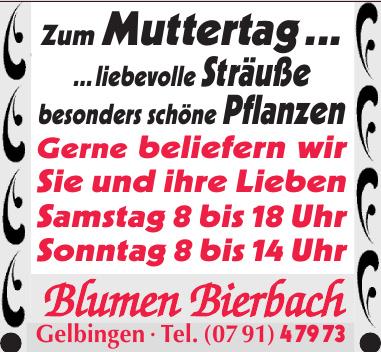 Tischschmuck Blumen Bierbach