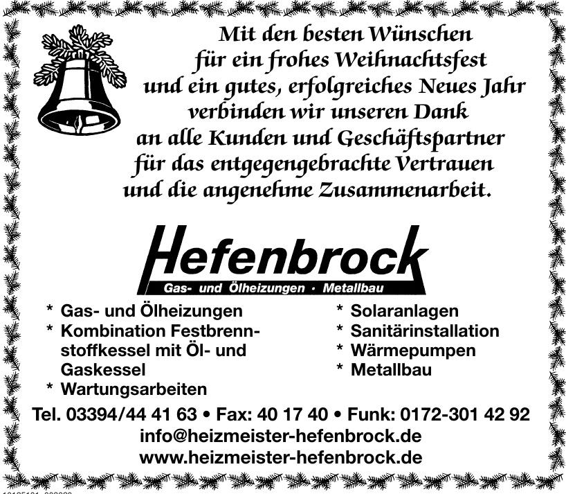 Hefenbrock Gas- und Ölheizungen - Metallbau