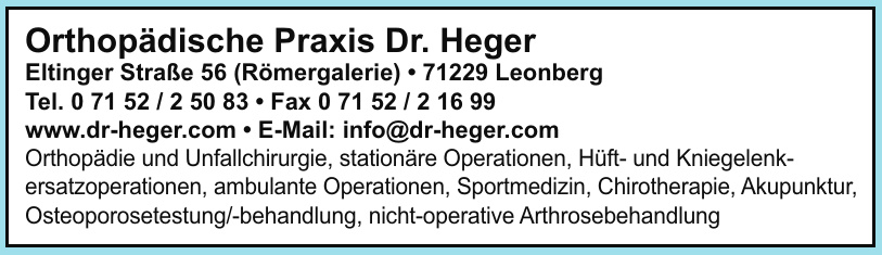 Orthopädische Praxis Dr. Heger