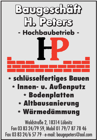 Baugeschäft H. Peters Hochbaubetrieb HP