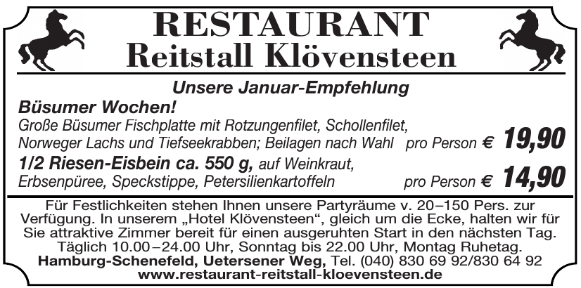 Restaurant Reitstall Klövensteen