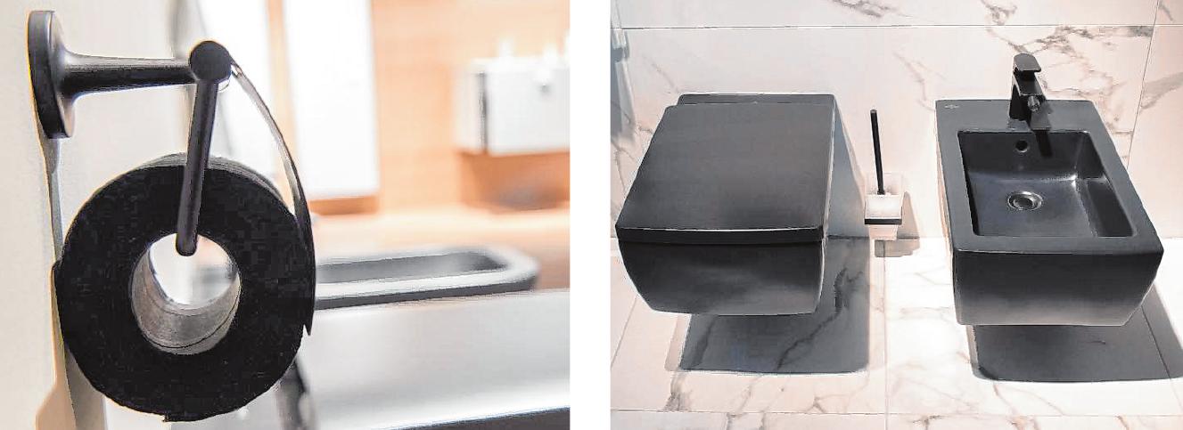 Oder doch lieber schwarz? Die schwarze Toilette und das gleichfarbige Bidet von Villeroy & Boch wirken auf den ersten Blick vielleicht ungewöhnlich, sollen aber laut Trendexperten in den nächsten Jahren immer beliebter werden (rechts). Dann darf sogar das Toilettenpapier schwarz eingefärbt sein (links).