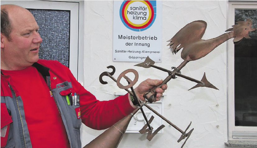 Klassisches Flaschnerbauteil: Die Wetterfahne.
