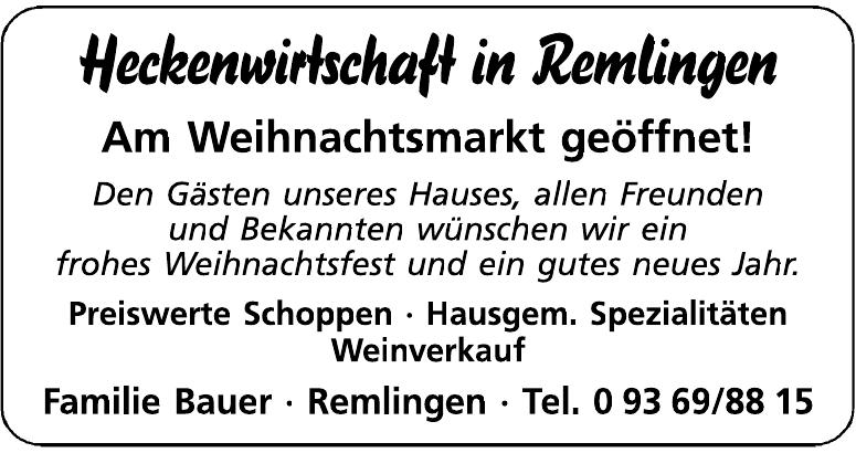 Heckenwirtschaft in Remlingen - Familie Bauer