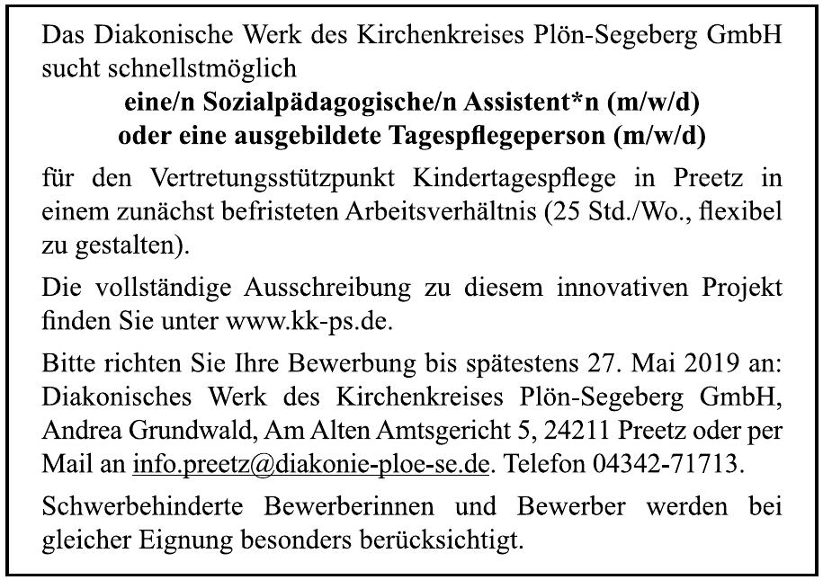 Das Diakonische Werk des Kirchenkreises Plön-Segeberg GmbH