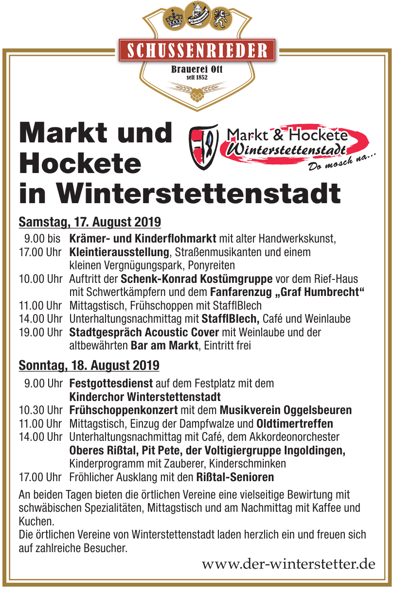 Markt und Hockete in Winterstettenstadt