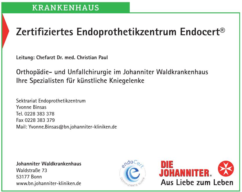Zertifiziertes Endoprothetikzentrum Endocert