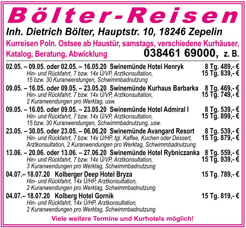 Bölter - Reisen